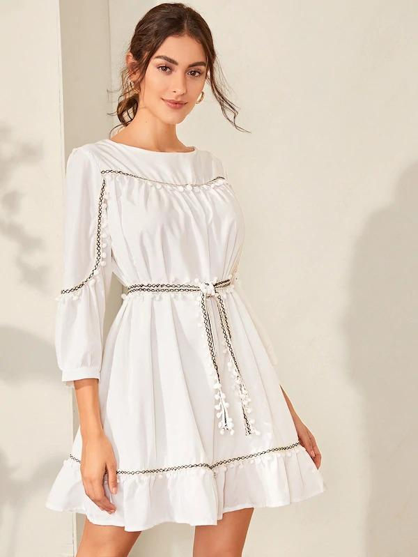 Women Contrast Tape Pompom Trim Belted Dress