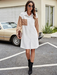 Women Corduroy Contrast Panel Shirt Dress