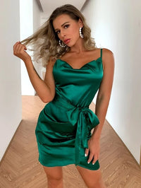 Women Cowl Neck Zip Back Ruched Satin Cami Dress