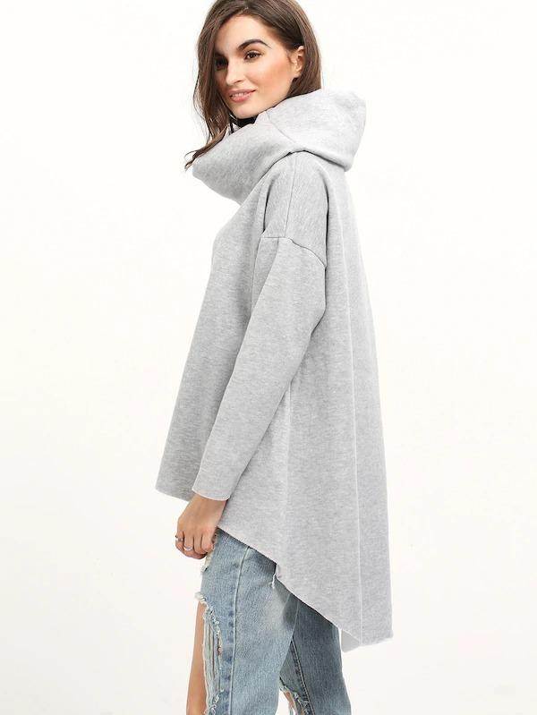 Women Cowl Neck Dip Hem Loose Sweatshirt