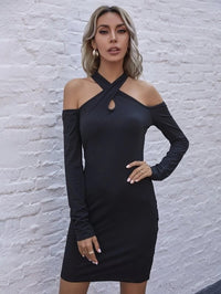 Women Criss Cross Front Cold Shoulder Bodycon Dress