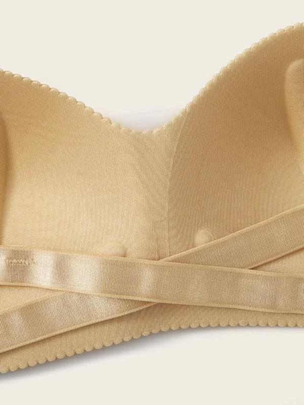 Women Crisscross Back Seamless Bra With Clear Strap
