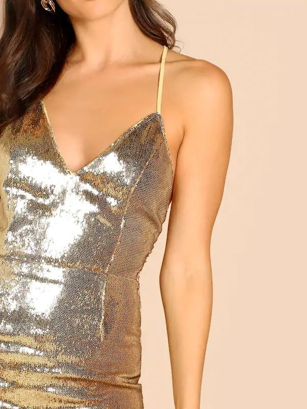 Women Crisscross Back Sequin Cami Dress