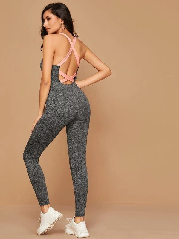 Women Crisscross Backless Marled Unitard Jumpsuit