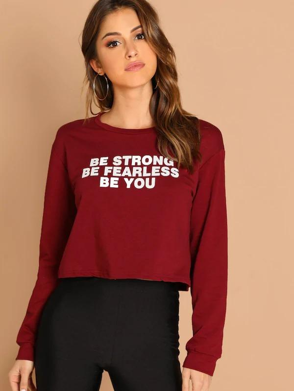 Women Crop Slogan Print Pullover