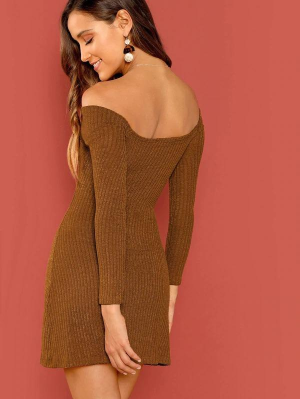 Women Cross Wrap Off Shoulder Rib Knit Bodycon Dress