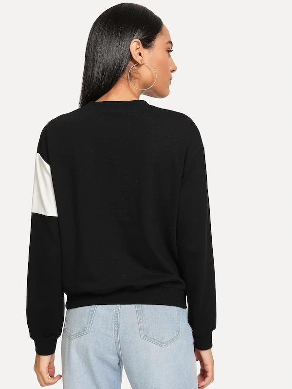 Women Cut-And-Sew Faux Fur Detail Pullover