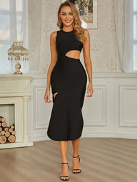 Women Cut-out Asymmetrical Neck Bandage Dress