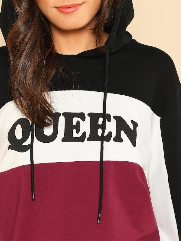 Women Cut And Sew Printed Hoodie