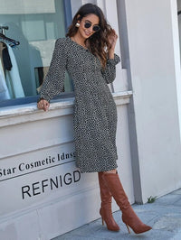 Women Dalmatian Print Button Front Fitted Dress
