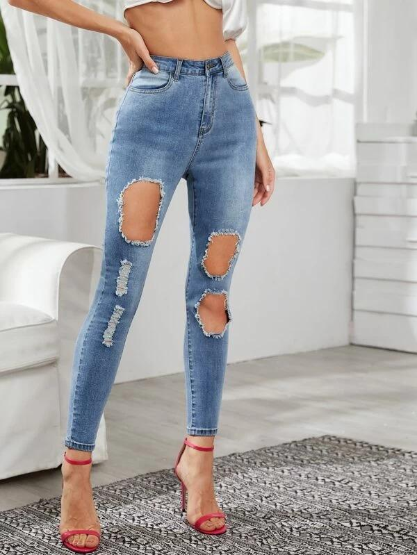 Women Destroyed Ripped Detail Bleach Wash Skinny Jeans