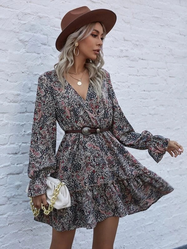 Women Ditsy Floral And Paisley Print Ruffle Hem Dress Without Belt