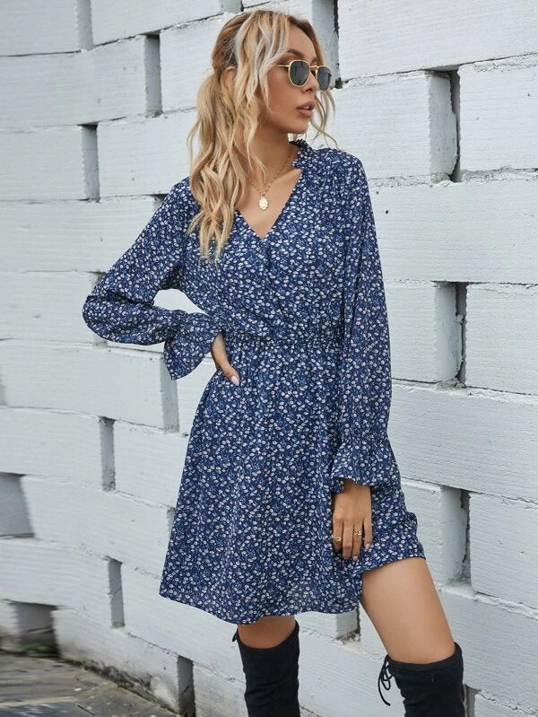 Women Ditsy Floral Notched Neck Dress