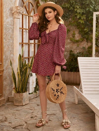 Women Ditsy Floral Print Tie Front Lantern Sleeve Dress