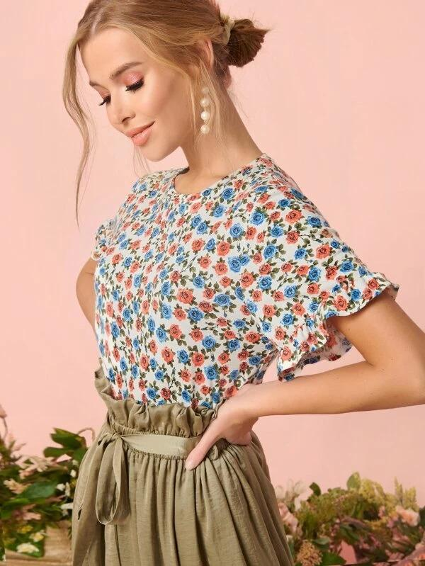 Women Ditsy Floral Ruffle Cuff Top