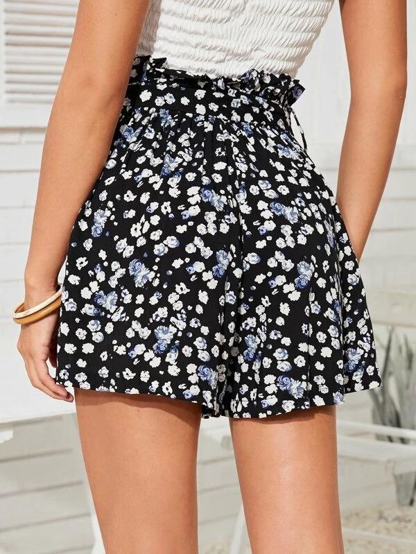Women Ditsy Floral Self Tie Paperbag Shorts