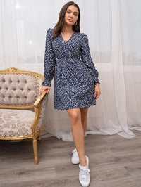 Women Ditsy Floral Surplice Front Gathered Waist Dress