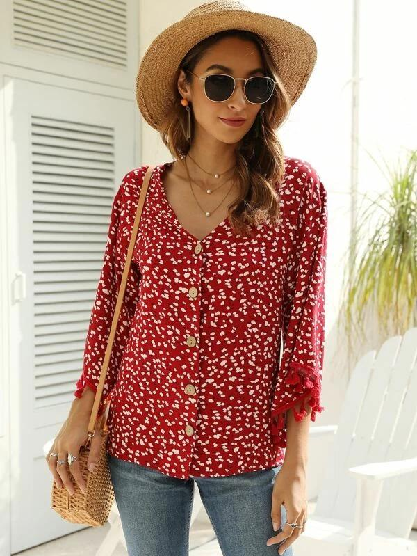 Women Ditsy Floral Tassel Button Up Blouse
