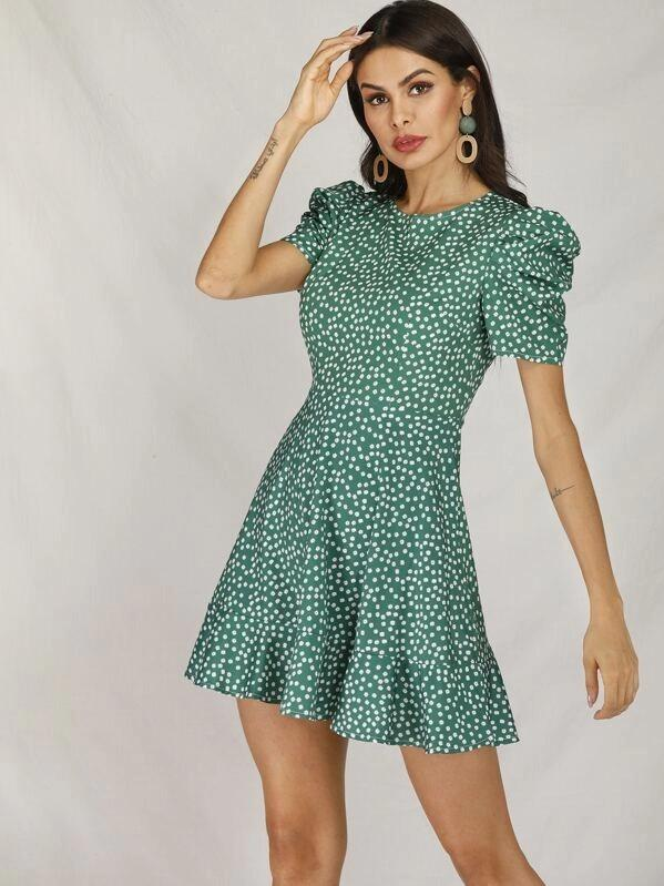 Women Ditsy Floral Puff Sleeve Ruffle Hem Swing Dress