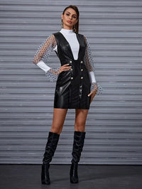 Women Double Button Leather Look Pinafore Dress