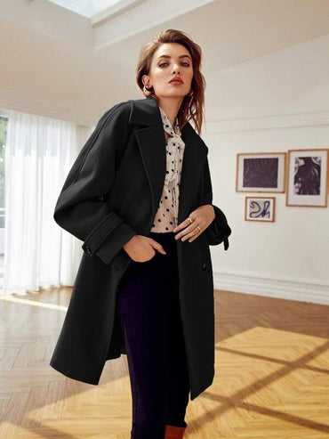 Women Double Button Raglan Sleeve Overcoat