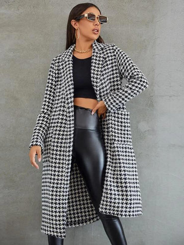 Women Double Pocket Houndstooth Tweed Coat