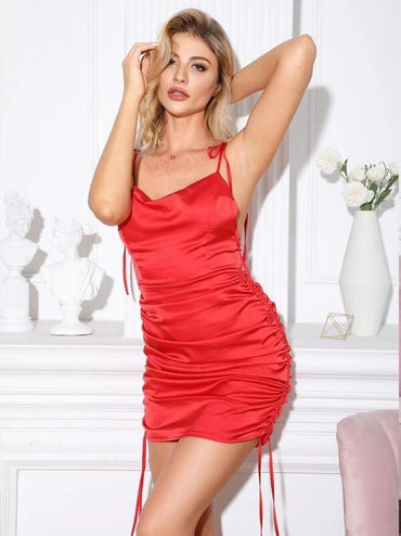 Women Double Crazy Drawstring Ruched Knotted Satin Cami Dress
