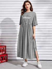 Women Drawstring Waist Split Hem Letter Graphic Dress