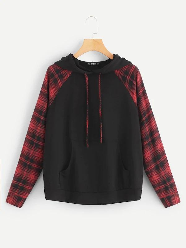 Women Drawstring Plaid Hoodie