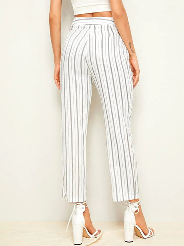 Women Drawstring Waist Striped Pants