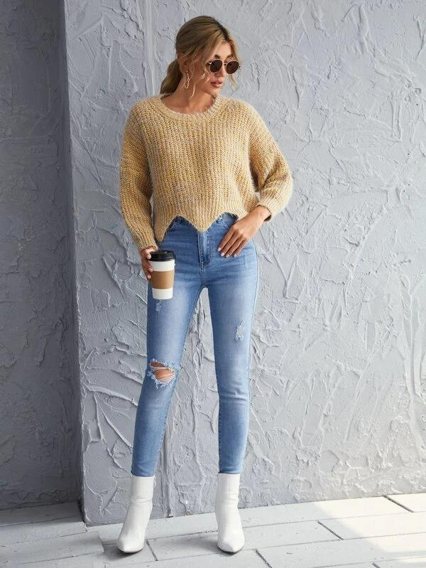 Women Drop Shoulder Asymmetrical Hem Sweater