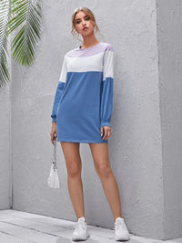 Women Drop Shoulder Colorblock Dress