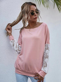 Women Drop Shoulder Contrast Lace Sleeve Sweatshirt