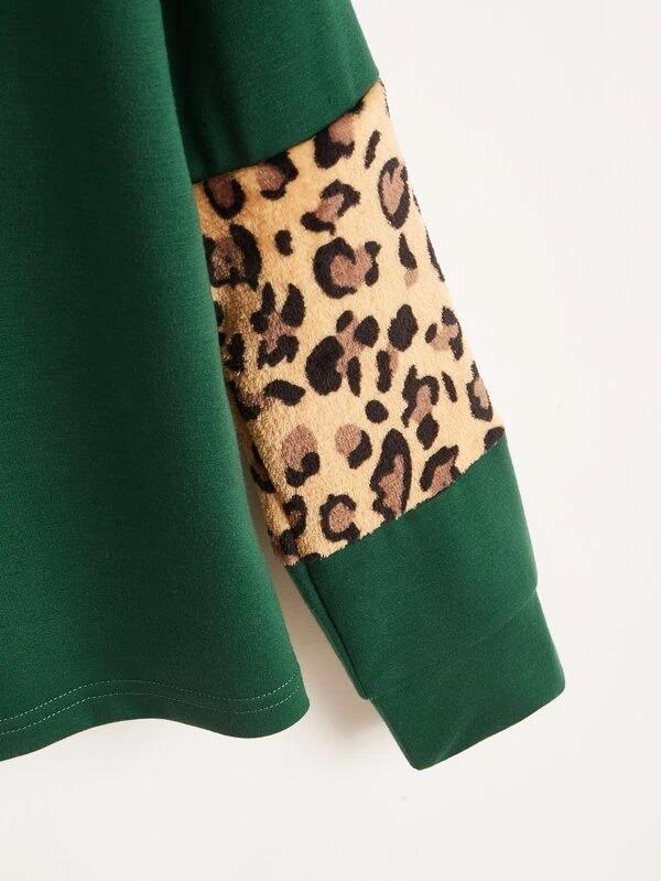 Women Drop Shoulder Contrast Leopard Pullover