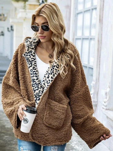 Women Drop Shoulder Leopard Lining Teddy Coat