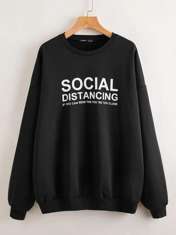 Women Drop Shoulder Slogan Graphic Oversized Pullover