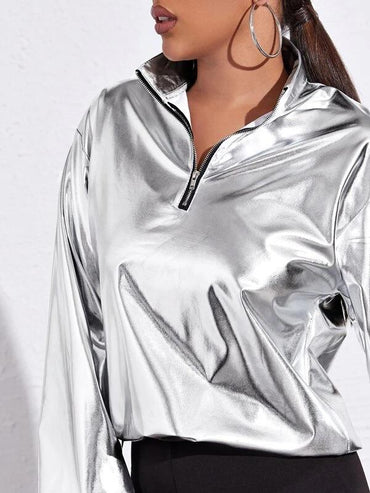 Women Drop Shoulder Zip Half Placket Metallic Jacket