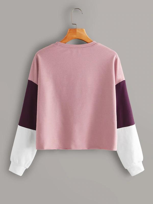 Women Drop Shoulder Colorblock Pullover