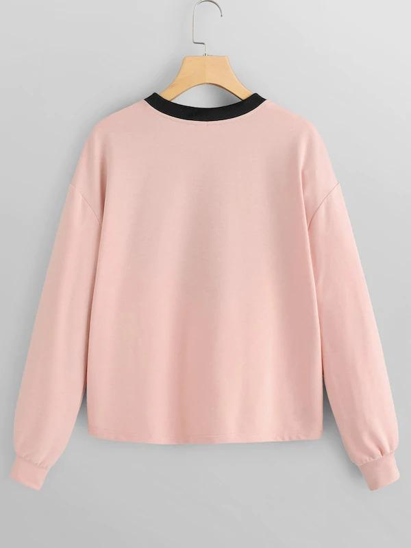 Women Drop Shoulder Cut And Sew Pullover