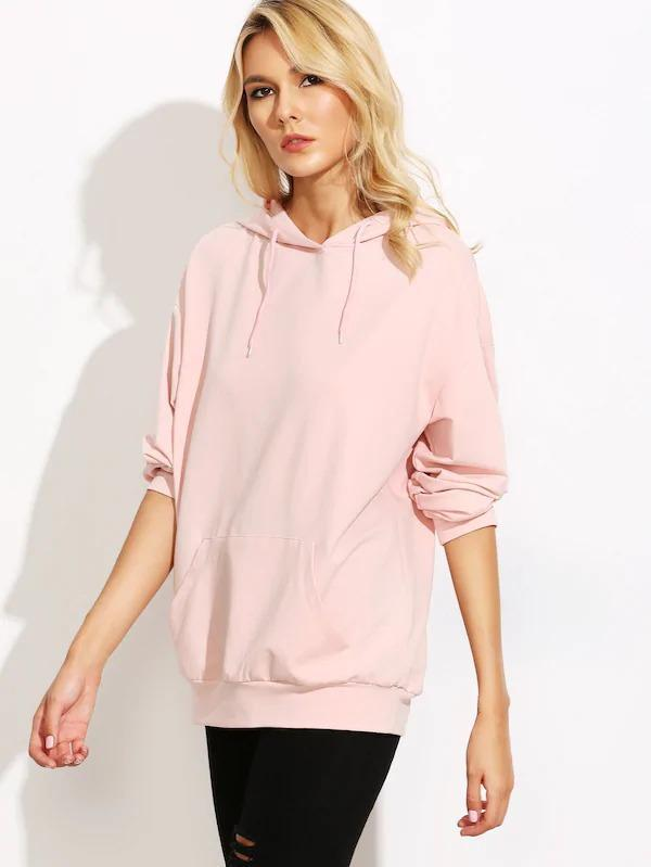 Women Drop Shoulder Hooded Sweatshirt With Kangaroo Pocket
