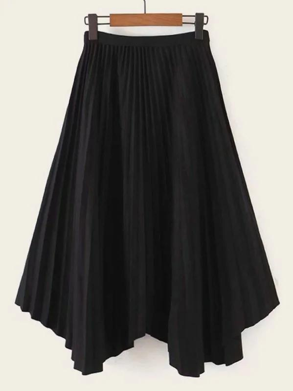 Women Elastic Waist Asymmetrical Pleated Hem Skirt