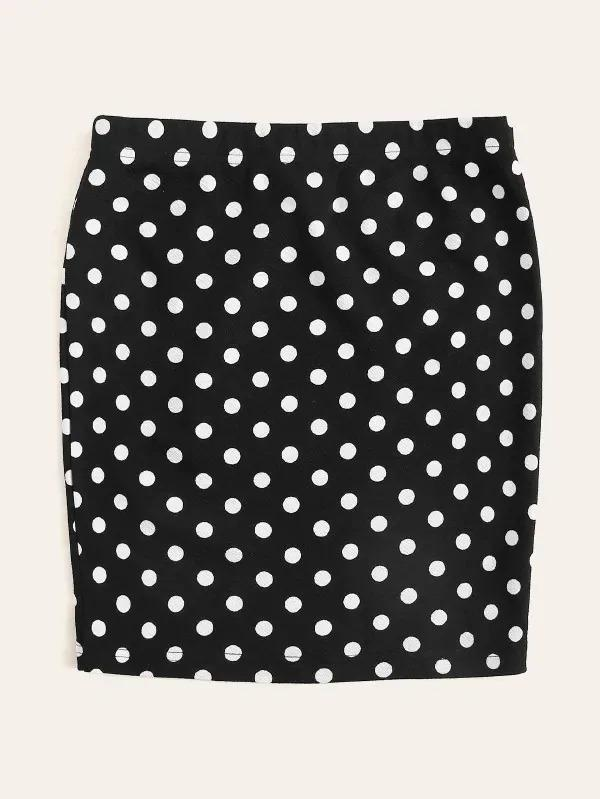 Women Elastic Waist Polka Dot Skirt