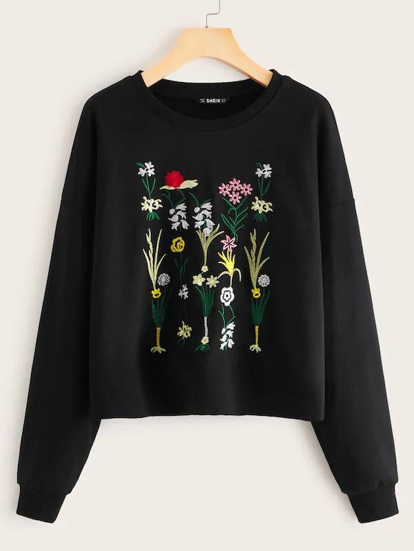 Women Embroidered Botanical Detail Pullover