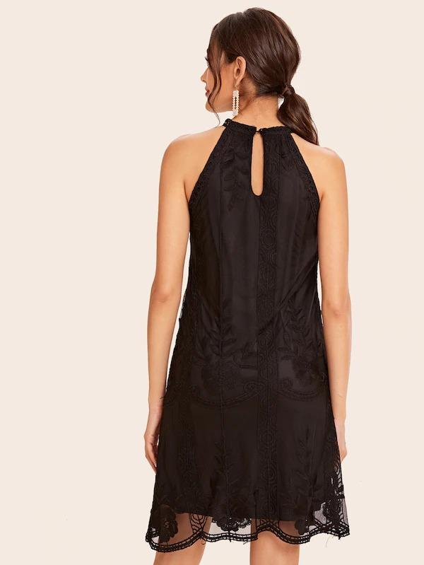 Women Embroidered Mesh Overlay Halter Dress