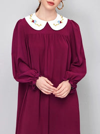 Women Embroidery Peter Pan Collar Flounce Sleeve Dress