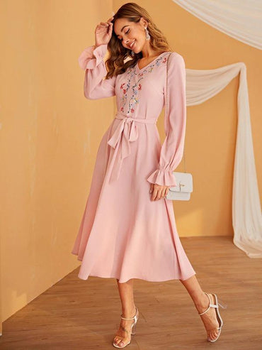 Women Embroidery Front Flounce Sleeve Belted Dress