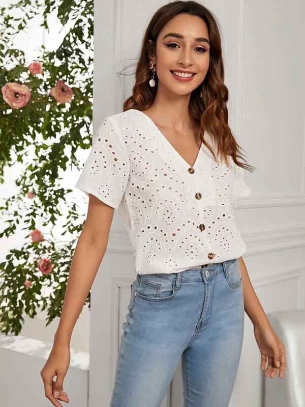 Women Eyelet Embroidered Button Through Blouse