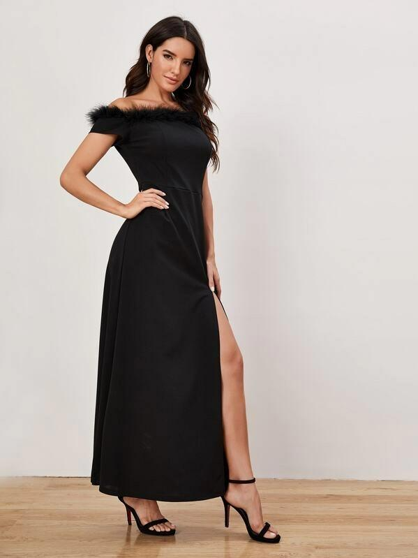 Women Faux Fur Detail High Split Dress