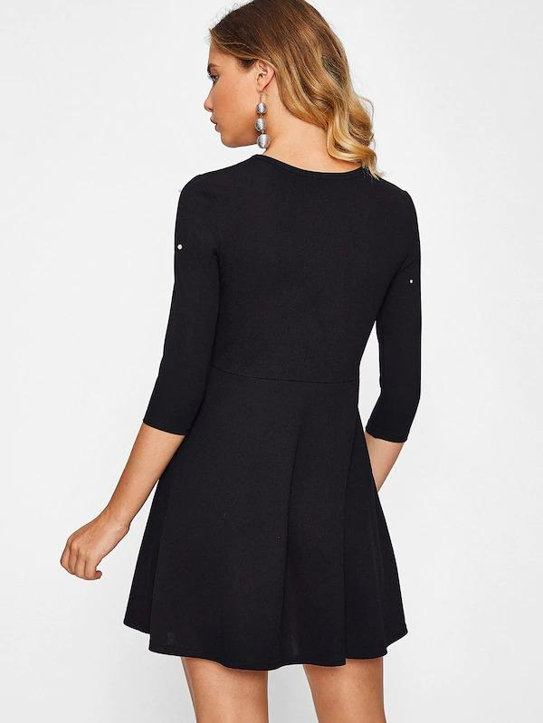 Women Faux Pearl Embellished Skater Dress