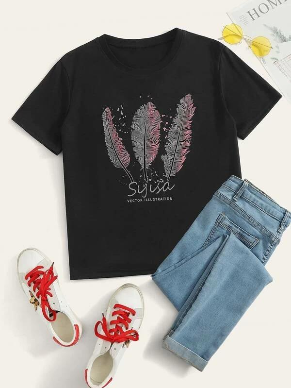 Women Feather And Letter Graphic Tee